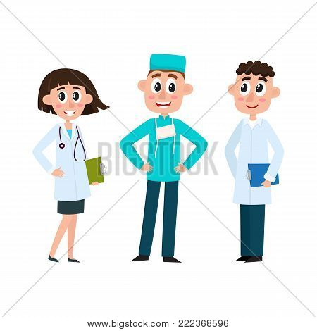 vector flat cartoon adult male, female doctors, head physician, surgeon in medical clothing, uniform holding clipboard, stethoscope smiling set. Isolated illustration on a white background.