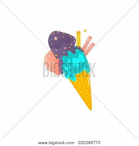 Ice cream cone with three colored scoops and waffle tubes, flat style vector illustration isolated on white background. Waffle cone with three scoopes of colorful ice cream