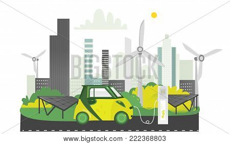 Alternative energy electric vehicle charging station, solar panels and windmills, flat cartoon vector illustration on white background. Electric car, solar panels and windmills - eco-friendly city