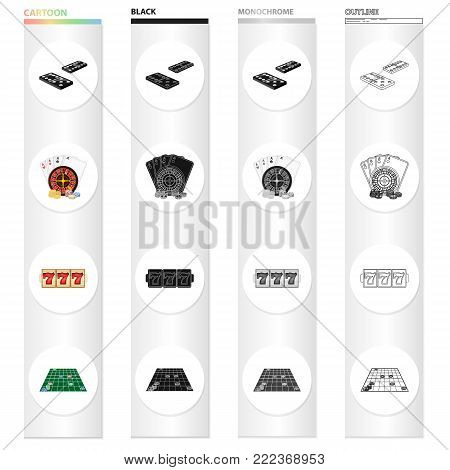 Domino, roulette in the casino, cards, chips, coin, slot machine, jackpot, roulette cloth. Casino set collection icons in cartoon black monochrome outline style vector symbol stock illustration isometric .