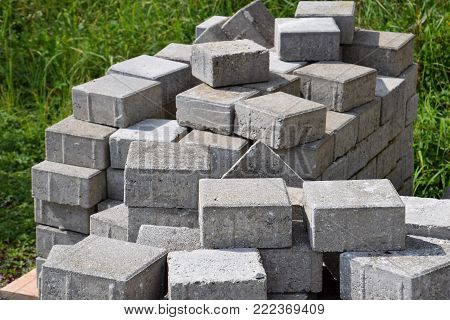 lage pile of pavers before installation on a construction site