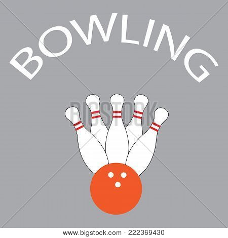 Bowling logo on grey with pins and ball for bowling places and companies