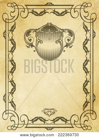 Aged dirty and yellowed paper background with decorative vintage border.  Grunge and vintage paper.