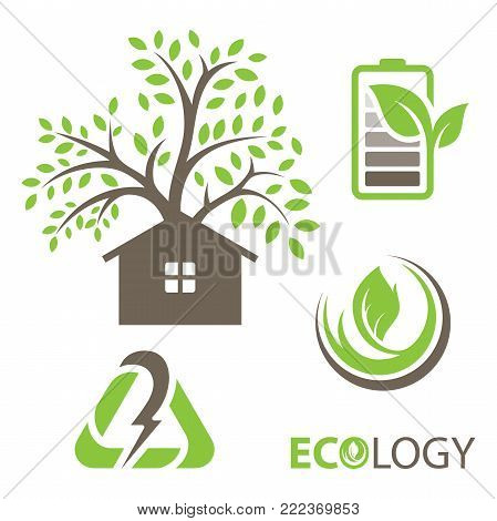 Set of ecology vector icons. Set includes- recycle icon, green house, leafs, tools, plug, eco battery icons. Modern minimalistic flat design. Vector green icon.