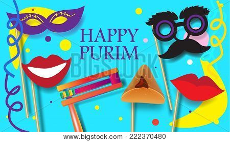 Purim celebration concept poster, Jewish Holiday festive abstract design banner with traditional symbols noisemaker grogger, ratchet, hamantachhen cookies, masque, crown, star of david top view illustration.