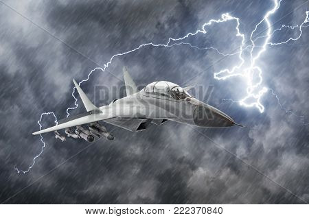 Military fighter aircraft at high speed, flying high in bad weather, rain and thunderstorm lightning