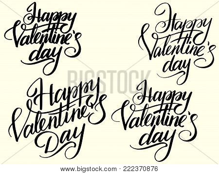 Set Happy Valentines Day Typographic Lettering isolated on retro color. Black letters Vector Illustration of a Valentines Day Card.