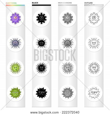 Different types of bacteria and viruses. Funny Viruses set collection icons in cartoon black monochrome outline style vector symbol stock illustration .