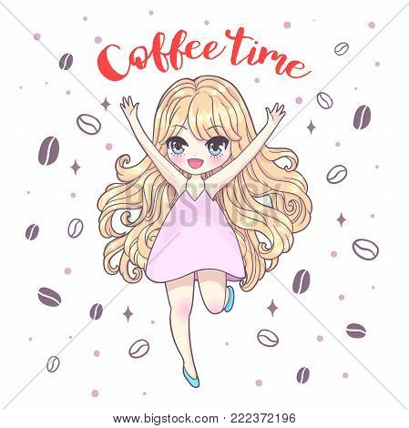 Cute vector illustration. Kawaii Anime girl. Big eyes. Use for postcards, print on clothes or other things. Coffee time