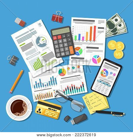 Auditing, Tax process calculation, accounting Concept. Checks financial report. Charts on Documents and Smartphone screens. Flat style icons. Isolated vector illustration