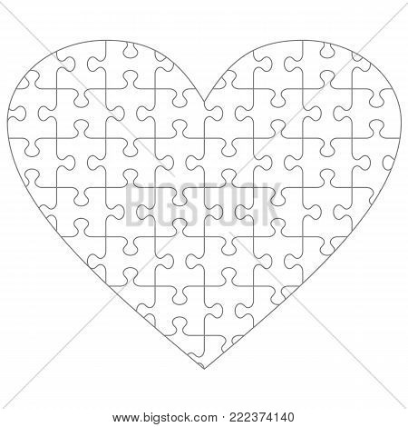 Heart shaped jigsaw puzzle blank template with classic style transparent (for vector mode) pieces, suitable for Valentine's Day, wedding and romantic designs and projects