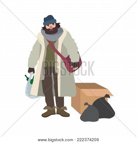 Poor homeless man dressed in ragged clothes standing beside carton box and garbage bags and holding pouch full of glass bottles. Cartoon character isolated on white background. Vector illustration