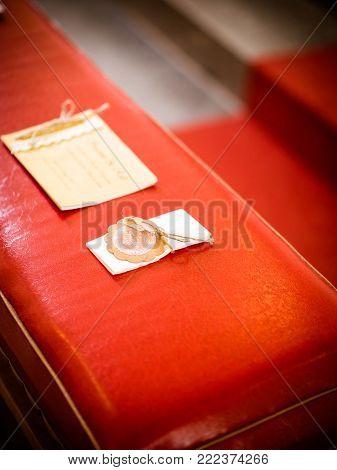 Woman hand flirting with handkerchiefs in the church