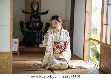 The Girl Cute With Japanese Yukata