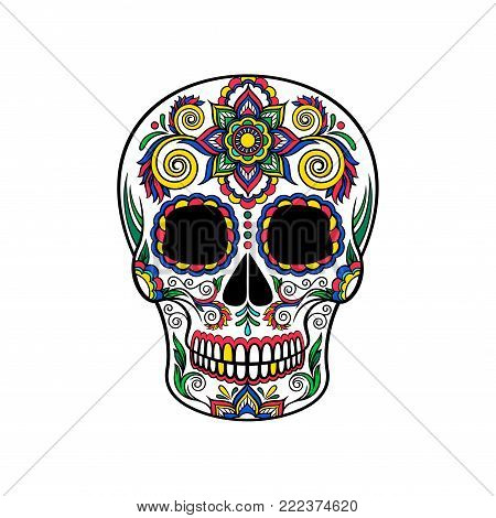 Mexican sugar skull with floral ornament, Day of the death vector Illustration on a white background