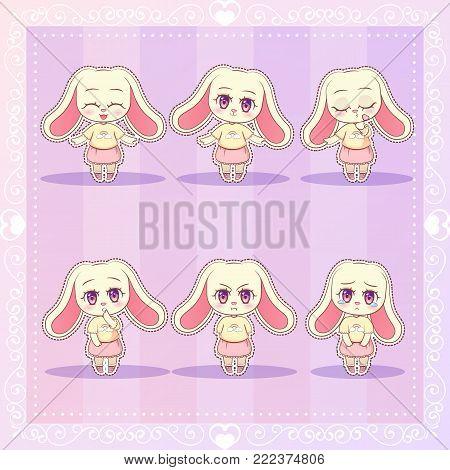 Sweet Kitty Little Cute Kawaii Anime Cartoon Bunny Rabbit Girl In Dress With Long Fluffy Ears Differ