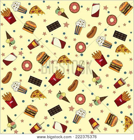 Wallpaper on the theme of fast food. Takeaway food for every taste