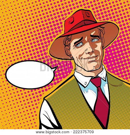 Ironic man. Cartoon character. Wild west, vector illustration.. Concept idea of advertisement and promo. Halftone background. Pop art retro style illustration. People in retro style.
