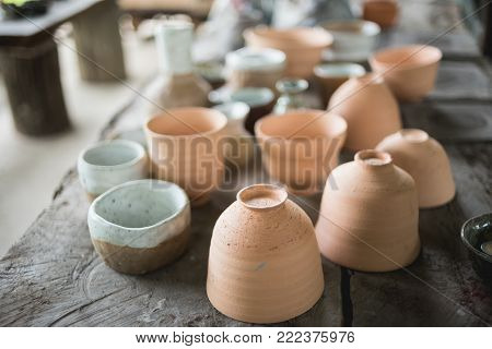 Rustic handmade ceramic clay brown terracotta cups