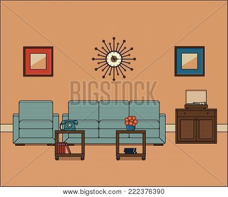 Living room in line art. Retro room interior. Thin line illustration in flat design. Vector graphics. Linear vintage home space with sofa, armchair and coffee table. House equipment 1960s.
