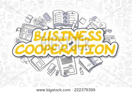 Yellow Text - Business Cooperation. Business Concept with Cartoon Icons. Business Cooperation - Hand Drawn Illustration for Web Banners and Printed Materials.