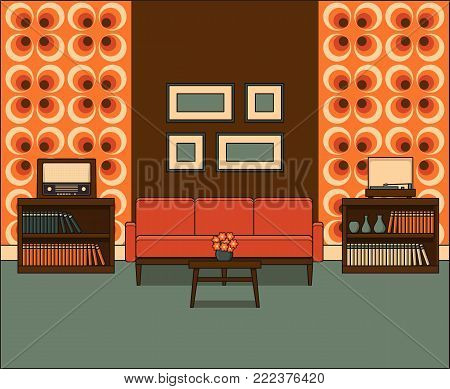 Retro living room in line art. Room interior 1960s. Linear illustration in flat design. Vector graphics. Thin line vintage home space with sofa and coffee table. House equipment.