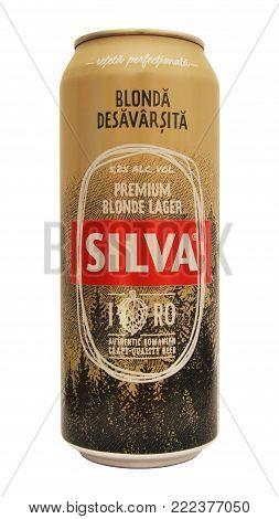 Caransebes, Romania - November 17: A romanian Silva beer can isolated on white, studio shot taken on November 17th, 2017