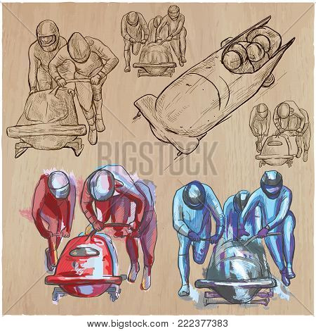 An hand drawn collection, vector pack - Sporting events - Winter sport - BOBSLEIGH. Line art technique.