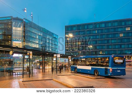 Helsinki, Finland. Bus Is At Stop On Helsinki Railway Square. Square Serves As Helsinki Secondary Bus Station And Main Kamppi Center Bus Station.