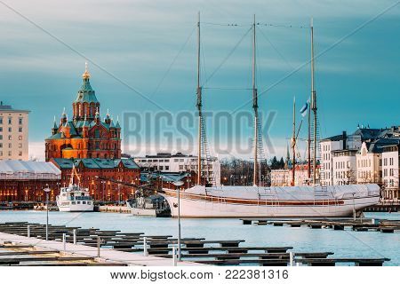Helsinki, Finland. Evening View Of Uspenski Cathedral From Pier.