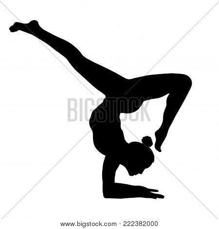 Yoga Pose, Woman Handstand, Vector Multicolored Drawing Portrait. Meditation, Is Engaged In Gymnasti