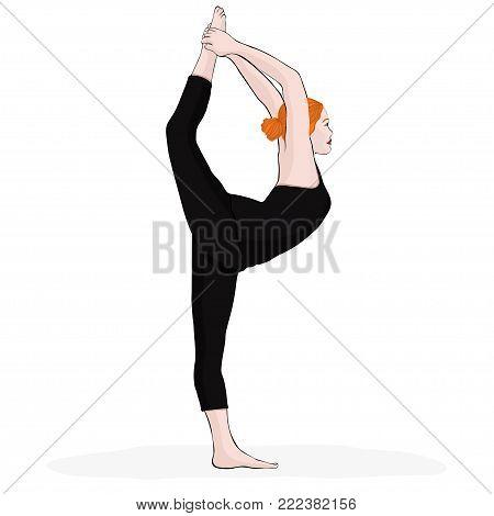 Yoga Pose, Woman Doing Stretching Legs, Leg Split, Vector Multicolored Drawing Portrait. Cartoon Gir