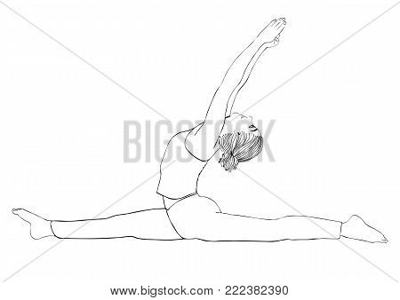 Yoga Pose, Woman To Do The Splits, Vector Multicolored Drawing Portrait. Cartoon Girl Is Engaged In