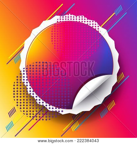 Abstract minimalist style vibrant fluid colorful dinamic shapes and lines, sunset background concept with circle sticker carnival attraction event vector illustration, music festival flyer template.