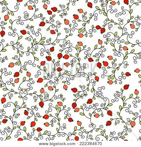 Seamless pattern, vector illustration of Jewish holiday, new year of trees for Tu Bishvat. A tree with pomegranate fruits, branches, swirls for greeting card or poster