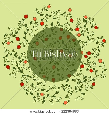 Vector illustration of Jewish holiday, new year of trees for Tu Bishvat. A tree with pomegranate fruits, branches, swirls for greeting card or poster. Text Tu Bishvat