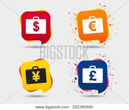 Businessman case icons. Cash money diplomat signs. Dollar, euro and pound symbols. Speech bubbles or chat symbols. Colored elements. Vector