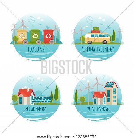 Ecology, alternative energy, green technology, organic, bio design concept. Vector cartoon banners for your design