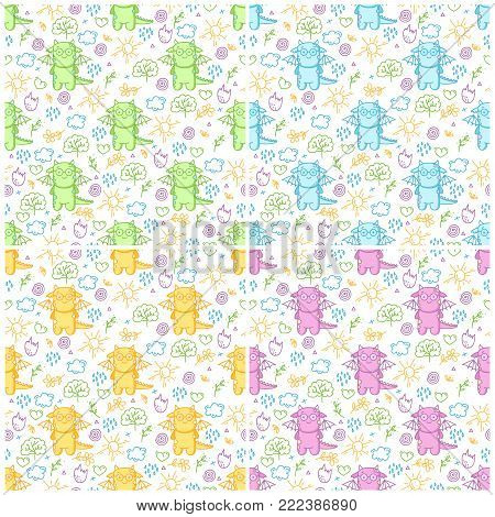 Vector set patterns with cute dinos and design elements. Delicate collection with funny dinosaurs.
