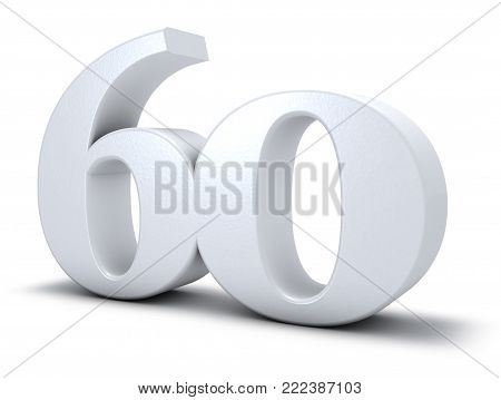 number sixty on white background - 3d rendering