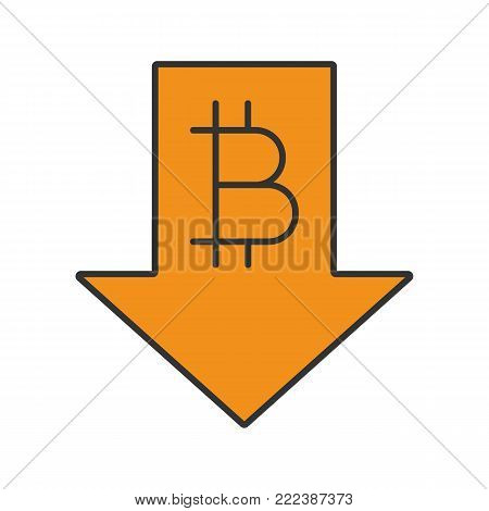 Bitcoin rate falling color icon. Cryptocurrency with down arrow. Bitcoin collapse. Isolated vector illustration