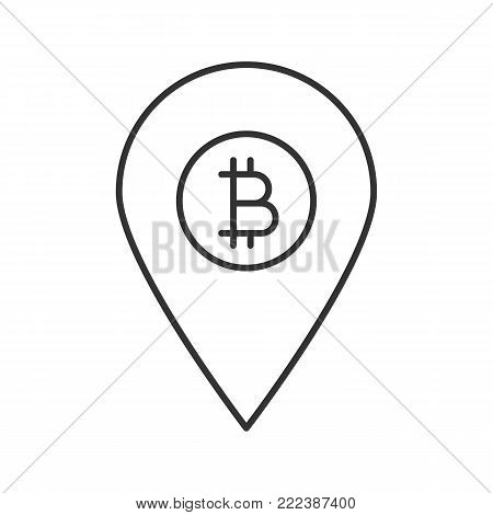 Bitcoin ATM location linear icon. Thin line illustration. Map pinpoint with bitcoin sign. Contour symbol. Vector isolated outline drawing