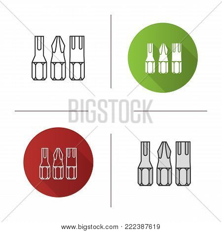 Screwdriver bits icon. Flat design, linear and color styles. Isolated vector illustrations