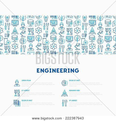 Engineering concept with thin line icons: engineer, electronics, calculations, tools, repair, idea, it server. Modern vector illustration for web page, banner, print media.