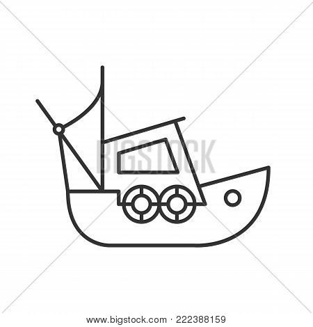 Fisher boat linear icon. Thin line illustration. Coble. Yacht. Contour symbol. Vector isolated outline drawing