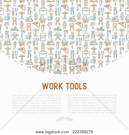Work tools concept with thin line icons: puncher, drill, wrench, plane, toolbox, wheelbarrow, saw, pliers, sawing machine. Modern vector illustration of building equipment for web page or print media.