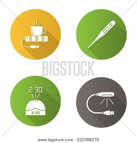 Gadgets flat design long shadow glyph icons set. USB lamp and cup warmer, projection clock, electronic thermometer. Vector silhouette illustration