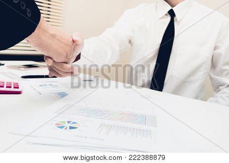 Deal Or Negotiating Business Greeting Concept : Businessman And Partnership Handshaking For Start Up