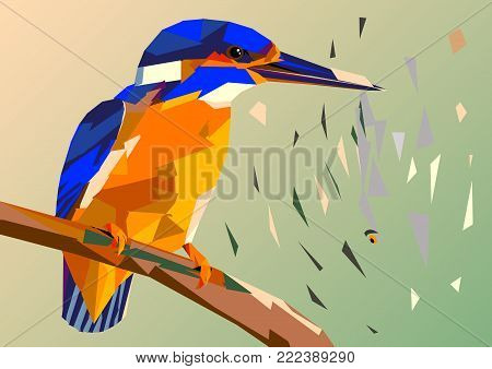 bird kingfisher on a branch with fish in its beak,mosaic multicolored on a colored background without a contour, this picture crumbles to pieces