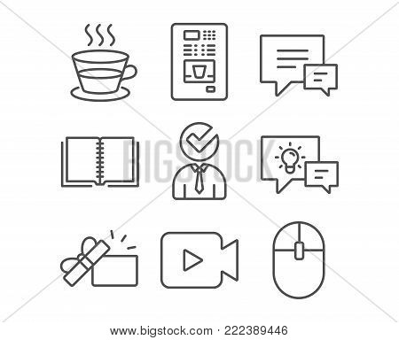 Set of Coffee cup, Vacancy and Comment icons. Coffee vending, Book and Video camera signs. Opened gift, Idea lamp and Computer mouse symbols. Tea mug, Businessman concept, Talk bubbles. Vector